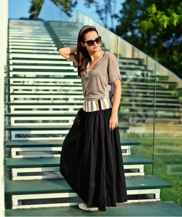 Long Loose Maxi Skirt Reflection
