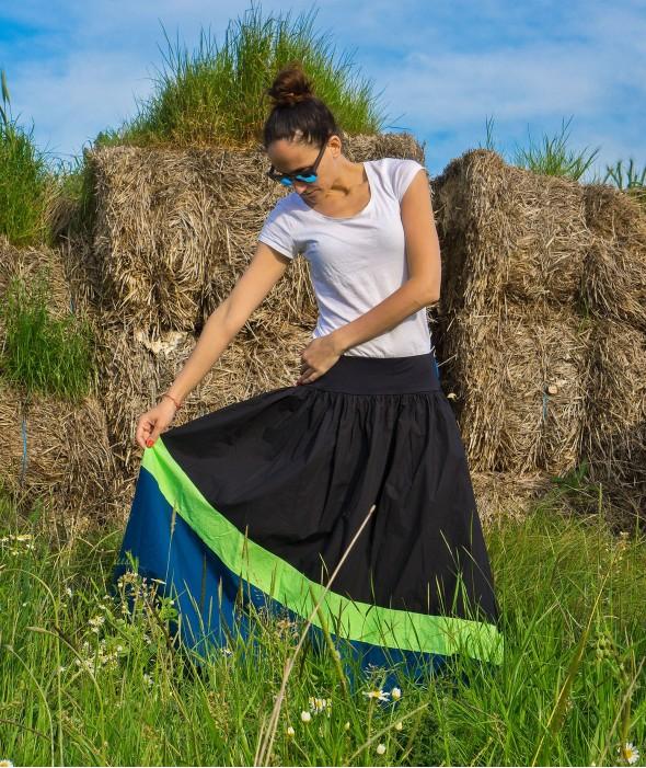 Long Loose Geometric Cut Skirt Bongo