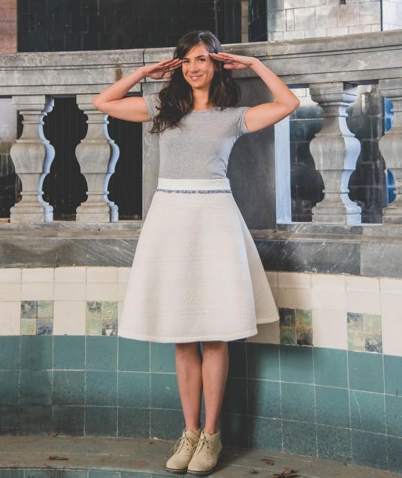 White Neoprene Skirt Heal Opal