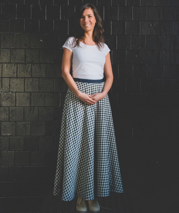 Long Checked Skirt Heal Jade