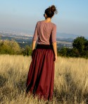 Long Loose Fall Skirt Ruby