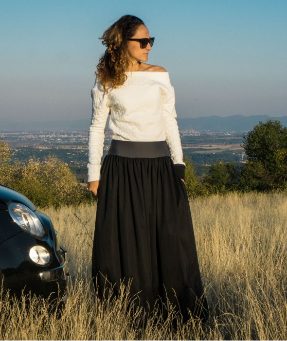 Long Loose Fall Skirt Coal
