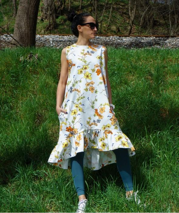 White Long Floral Dress Viber