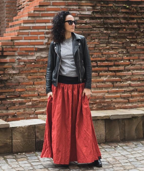 Long Loose Orange Skirt Firefox