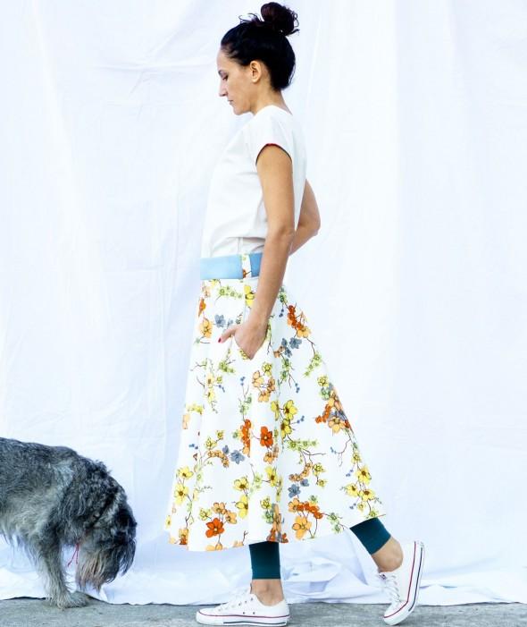White Floral Midi Skirt Viber